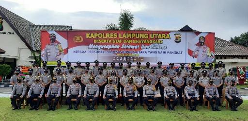 63 Personil dan 7 ASN Polres Lampung Utara Naik Pangkat ...